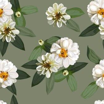 Reticolo senza giunte di fiore con fiori di zinnia