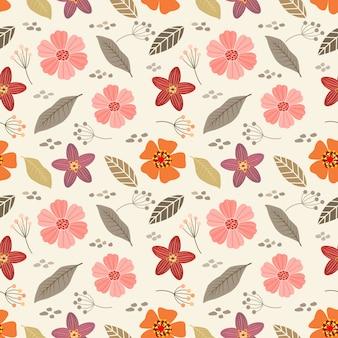 Reticolo senza giunte di fiori disegnati a mano colorati. carta da parati tessile in tessuto.