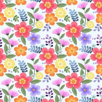 Reticolo senza giunte di fiori disegnati a mano colorati