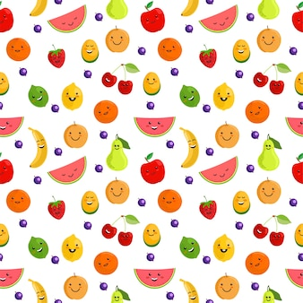 Reticolo senza giunte di frutta. illustrazione senza cuciture del fondo del modello di estate sveglia con la frutta fresca. personaggi simpatici di frutta. frutti divertenti per bambini isolati su sfondo bianco.
