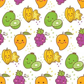 Reticolo senza giunte di frutta kawaii