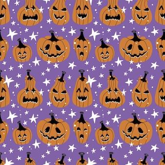Reticolo senza giunte di halloween con zucche e stelle.