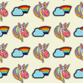 Reticolo senza giunte di patch unicorni e arcobaleni di vettore
