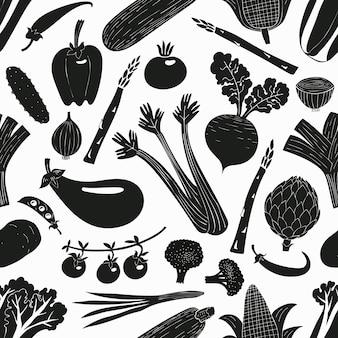 Reticolo senza giunte di verdure disegnate a mano del fumetto