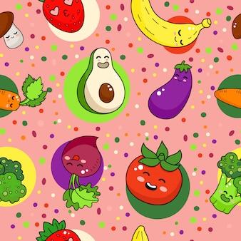 Reticolo senza giunte di verdure divertenti. illustrazione di doodle di cibo sano.