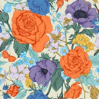 Reticolo senza giunte di vettore floreale dell'annata con le rose