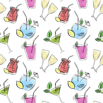 Reticolo senza giunte disegnato a mano con bevande e limoni
