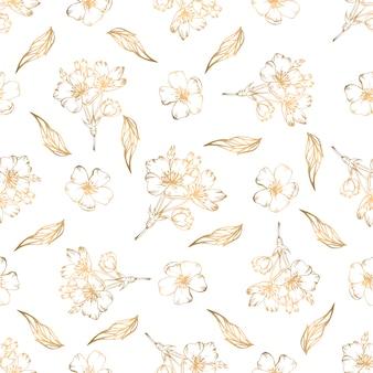 Reticolo senza giunte disegnato a mano con elementi floreali dorati