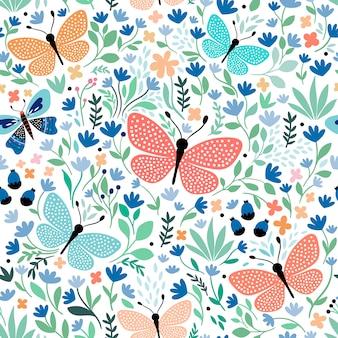 Reticolo senza giunte disegnato a mano con farfalle e piante