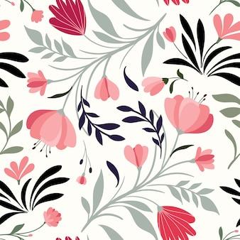 Reticolo senza giunte disegnato a mano con fiori e piante decorativi