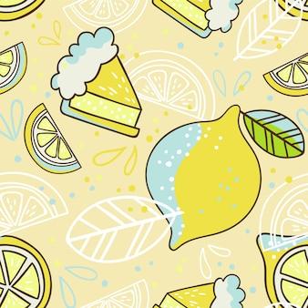 Reticolo senza giunte disegnato a mano con limoni. carta da parati doodle. illustrazione colorata e luminosa con frutta fresca.
