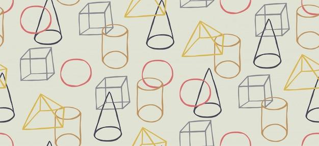 Reticolo senza giunte disegnato a mano con stile memphis e forme geometriche