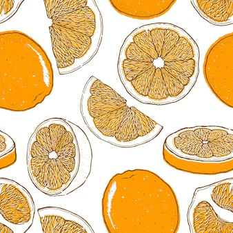 Reticolo senza giunte disegnato a mano di frutta arancione.