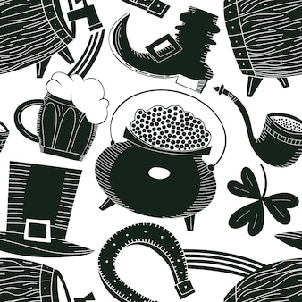 Reticolo senza giunte disegnato a mano di giorno di san patrizio. cappello leprechaun, trifoglio, boccale di birra, barile, illustrazione di pentola moneta d'oro. sfondo irlandese.