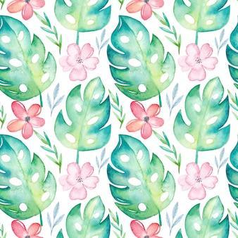 Reticolo senza giunte tropicale dell'acquerello con fiori e foglie