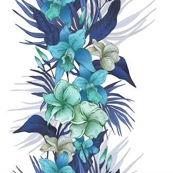 Reticolo senza giunte tropicale floreale dell'annata di vettore