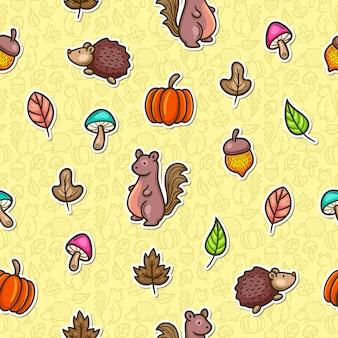 Reticolo senza giunte variopinto di doodle di autunno