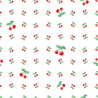 Reticolo senza soluzione di continuità con l'acquerello ciliegia. testo continuo di stampa ripetuta. disegno del tessuto e illustrazione vettoriale della carta da parati