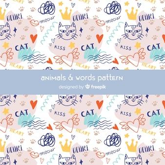 Reticolo variopinto di gatti e parole di doodle
