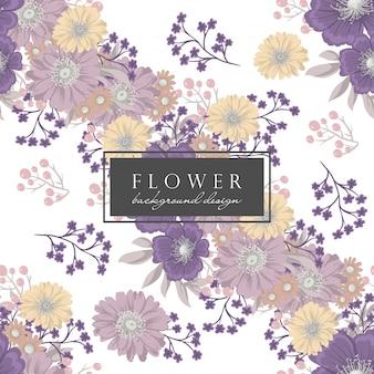 Reticolo viola del backround del fiore con i fiori e i fogli