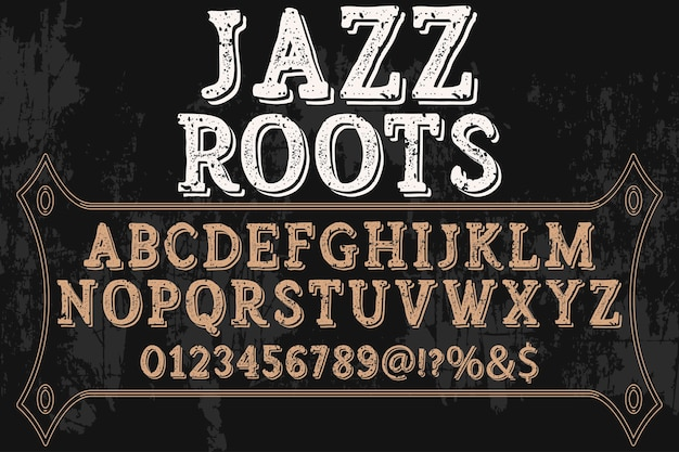 Retro alfabeto tipografia font design jazz roots