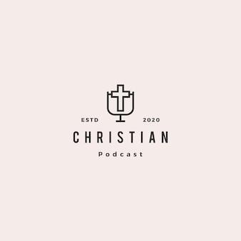 Retro annata dei pantaloni a vita bassa di logo del podcast cristiano per il canale del video blog del cristianesimo