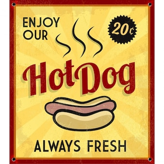 Retro annata hotdog targa in metallo