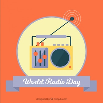 Retro arancione world radio day background