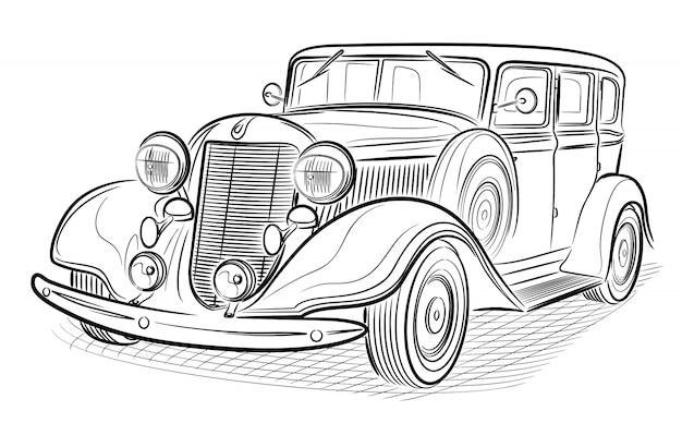 Retro automobile isolata su bianco.