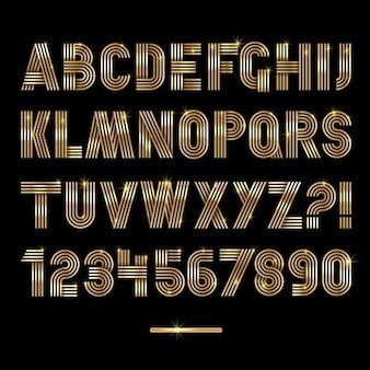 Retro bande font oro settrendy elegante stile retrò disegno vettoriale