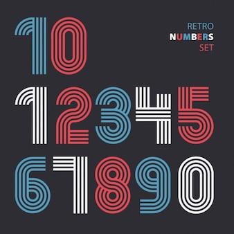 Retro bande numeri funky settrendy elegante stile retrò disegno vettoriale