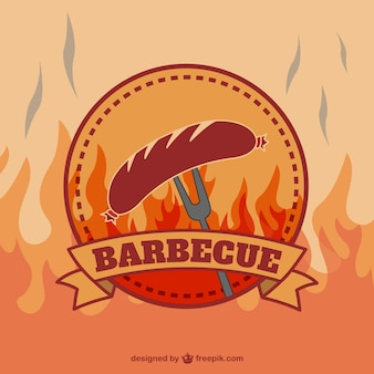 Retro barbecue logo vettoriale