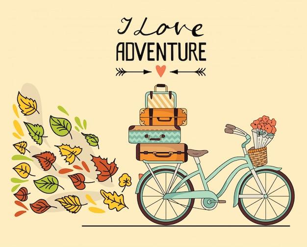 Retro bicicletta con bagagli