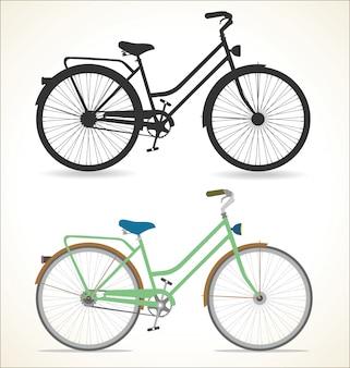 Retro bicicletta dell'annata isolata su priorità bassa bianca