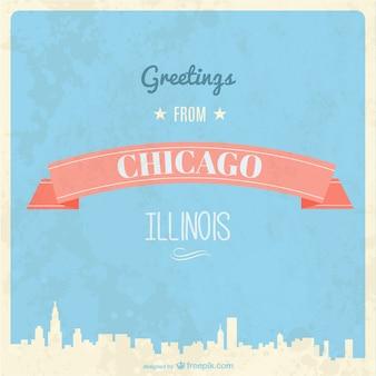 Retro biglietto di auguri chicago