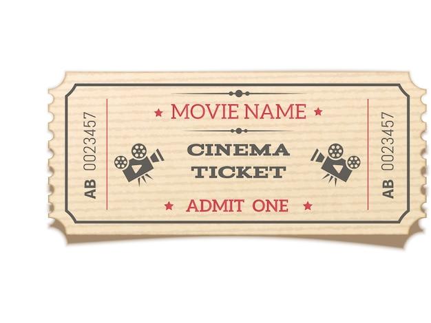 Retro biglietto di film realistico isolato su bianco