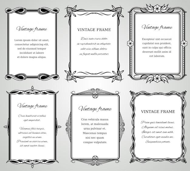 Retro bordi classici e vecchia raccolta calligrafica di cornici di foto.