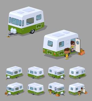 Retro camper 3d isometrico camper