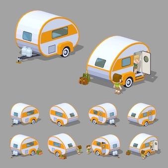 Retro camper rv isometrico 3d lowpoly