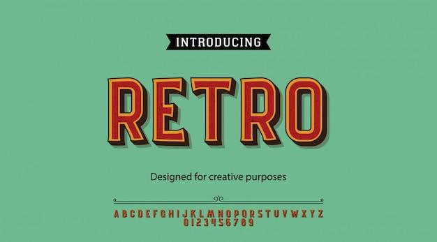 Retro carattere tipografico. per etichette e disegni di tipi diversi