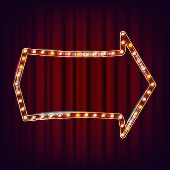 Retro cartellone vettoriale. realistico telaio della lampada shine. elemento incandescente elettrico 3d. luce al neon illuminata d'oro vintage. illustrazione