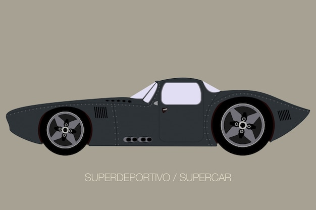 Retro classico supercar, vista laterale