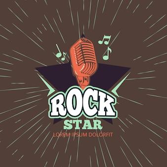 Retro club di musica di karaoke, logo di vettore dello studio dell'audio record con il microfono e stella sull'illustrazione d'annata del fondo dello sprazzo di sole