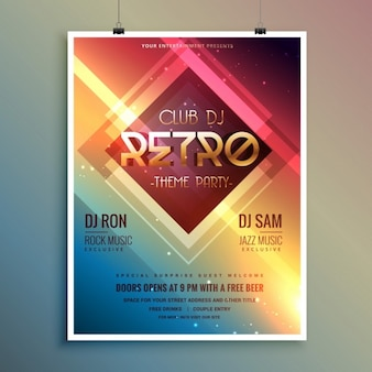 Retro club tema party template volantino