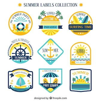 Retro collezione di etichette di estate