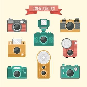 Retro collezione di fotocamere di design piatto