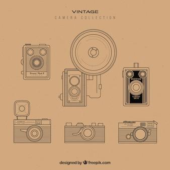 Retro collezione di fotocamere disegnate a mano