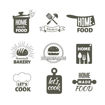 Retro cucina che cucina a casa distintivi e loghi