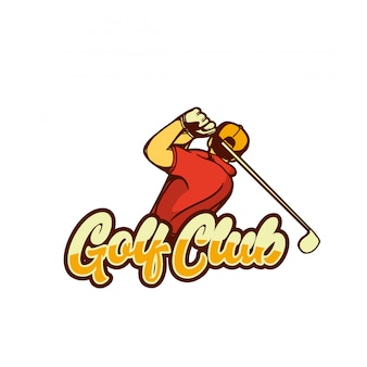 Retro d'annata del manifesto di progettazione del giocatore di golf dell'illustrazione del club di golf