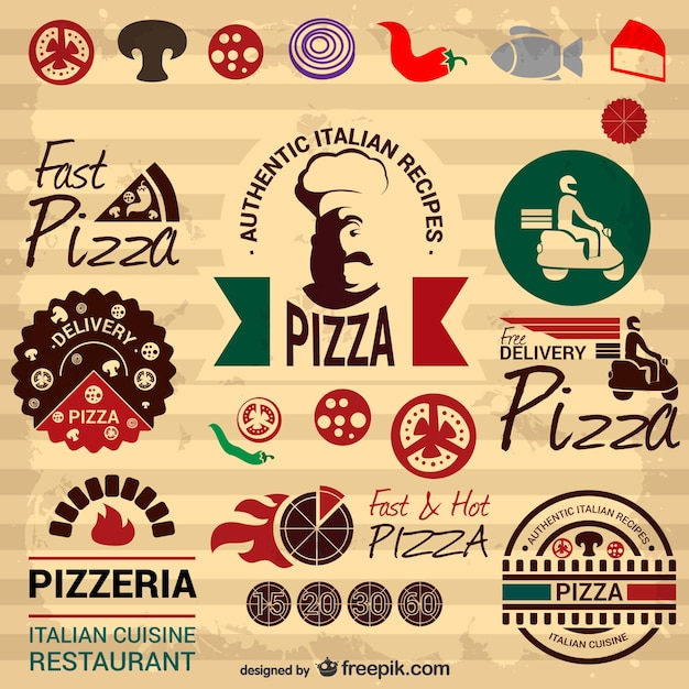 Retro della pizza italiana elementi grafici